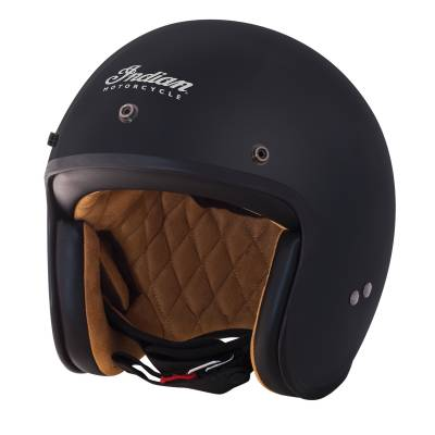 Apparel - Motorcycle - Indian - Matte Black Retro Open Face Helmet